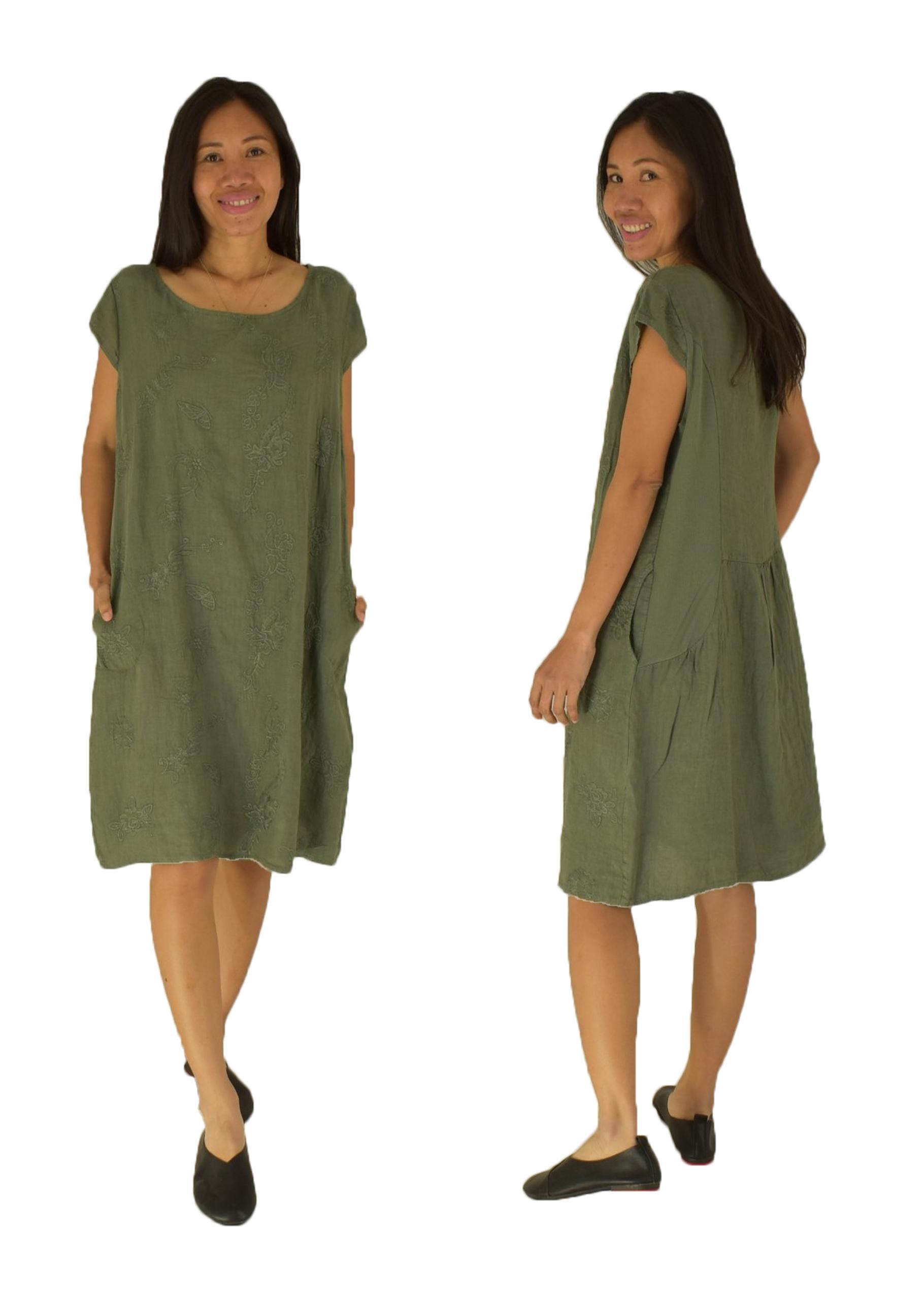 IB19-19 Kleid grün Leinen bestickt  PID