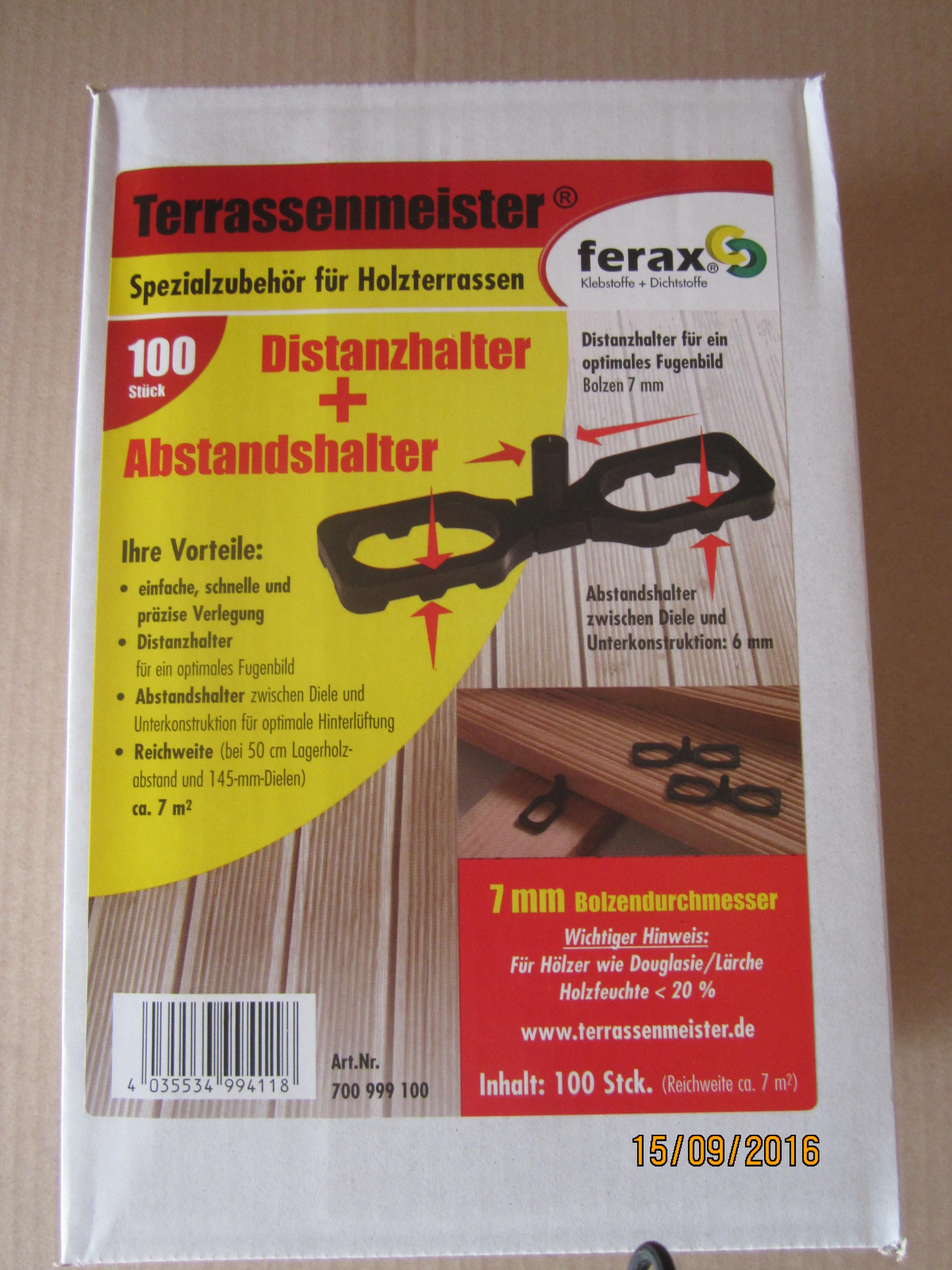 ferax ® Terrassenmeister Distanz und Abstandshalter für Terrassen