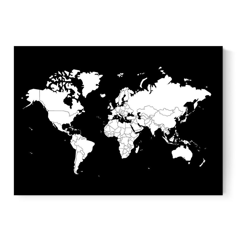 Weltkarte Poster In Schwarz Weiss Lander Zum Abziehen