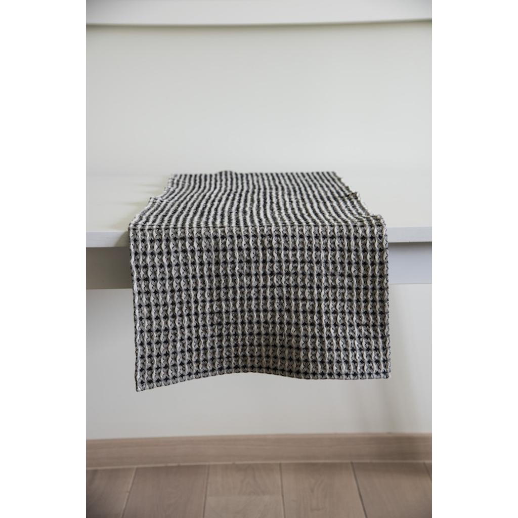 Tischläufer Schwarz Weiß tischläufer schwarz-weiß aus leinen & baumwolle