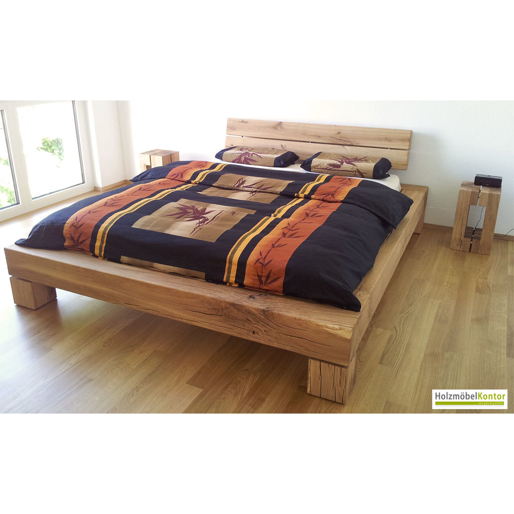 Balkenbett Eiche 160x200cm  Bett von holzmoebelkontor.de