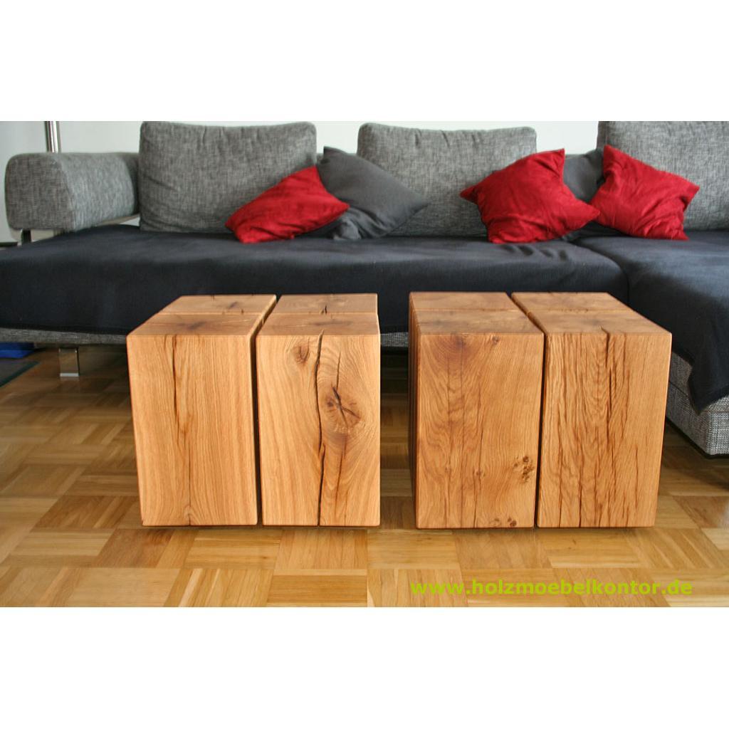 Holzblock couchtisch auf rollen for Couchtisch ausgefallen