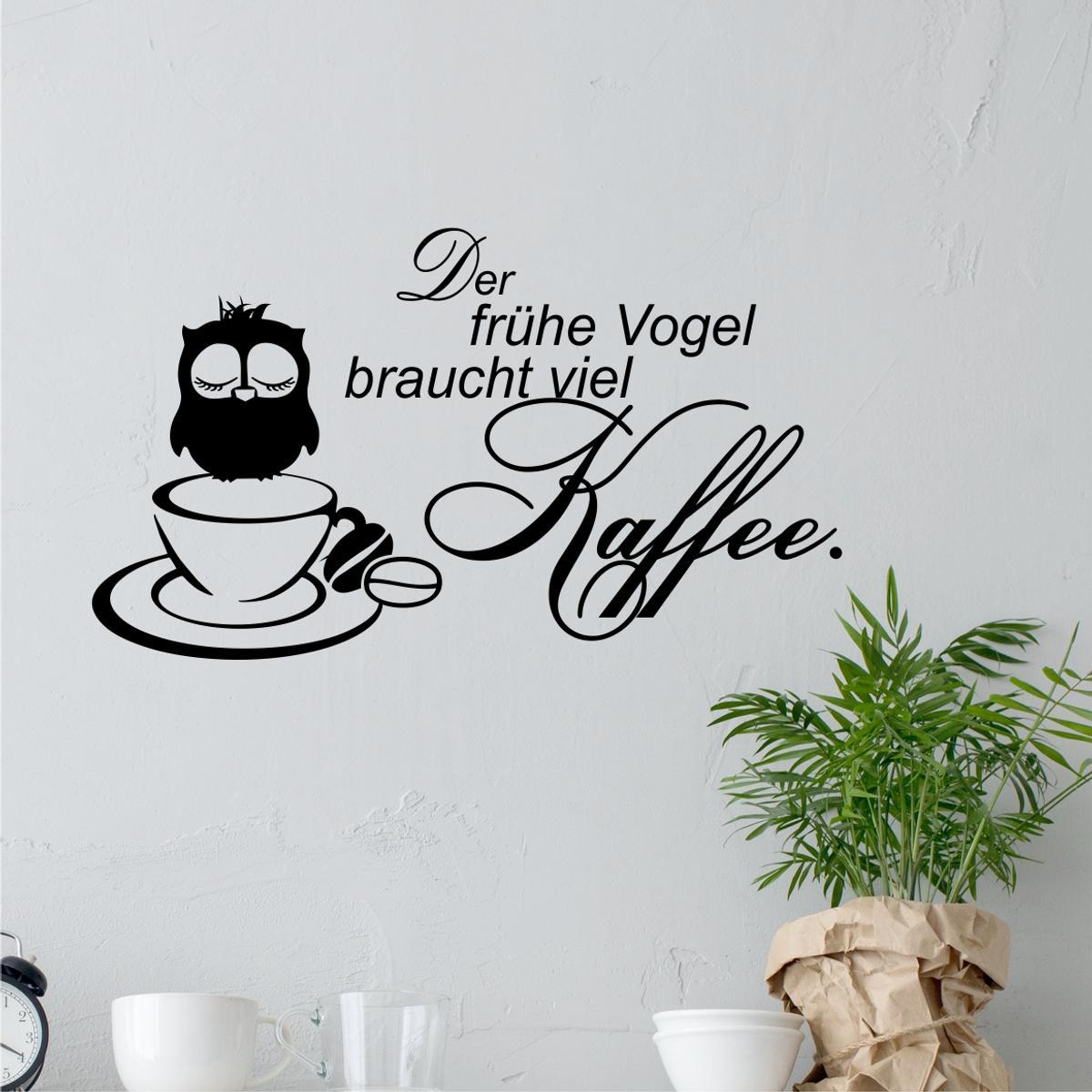 Greenluup Wandtattoo Kaffee Kaffeetasse Wandsticker Der Fruhe Vogel