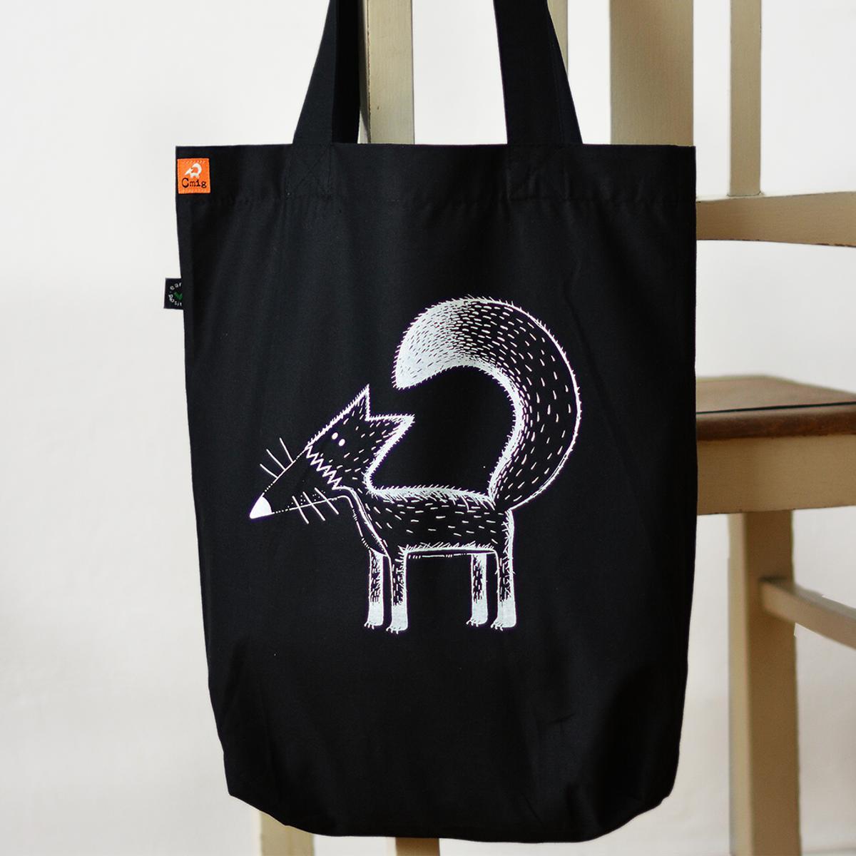194d579437c1 Cmig Franziska Räv tygkasse svart - Väska bestellen - cmig - ekologiska  kläder / handtryckta tröjor och ateljésydda byxor från hannover