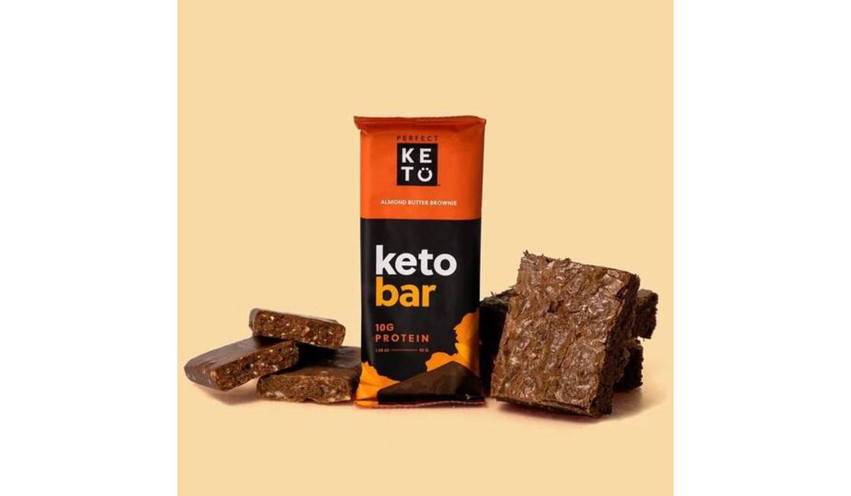 Keto Bar - der Riegel von perfect KETO  | 12er Pack, Mandelbutter Brownie