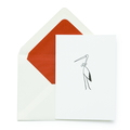 Storchenkarte zur Geburt  Futterfarbe rot / Red lined envelope