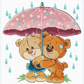 Teddy Bears under Umbrella - borduurpakket met telpatroon Luca-S
