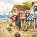 Shops by the Sea - borduurpakket met telpatroon Letistitch