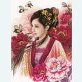 Asian Lady in Pink - borduurpakket met telpatroon Lanarte