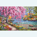 Cherry Blossom Creek - borduurpakket met telpatroon Dimensions