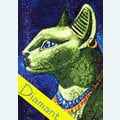 Emerald Cat - Diamond Painting pakket - Wizardi Pakket met vierkante diamantjes