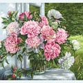 Peonies by the Window - kruissteekpakket met telpatroon Luca-S