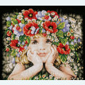 Girl with Flowers - borduurpakket met telpatroon Lanarte