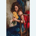 Woman with Yellow Roses - kruissteekpakket met telpatroon Luca-S
