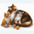 Cat with Kittens -  borduurpakket met telpatroon Riolis