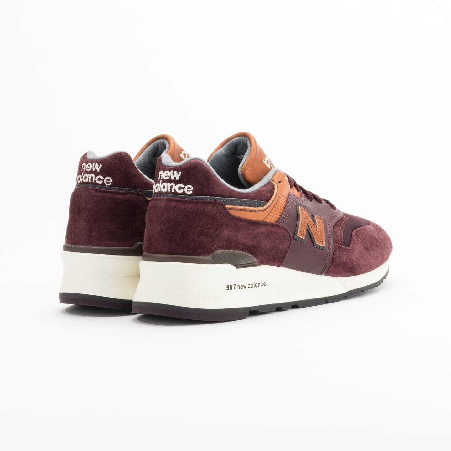 New Balance M997 Made in USA Burgundy / Light Brown M997DSLR-44