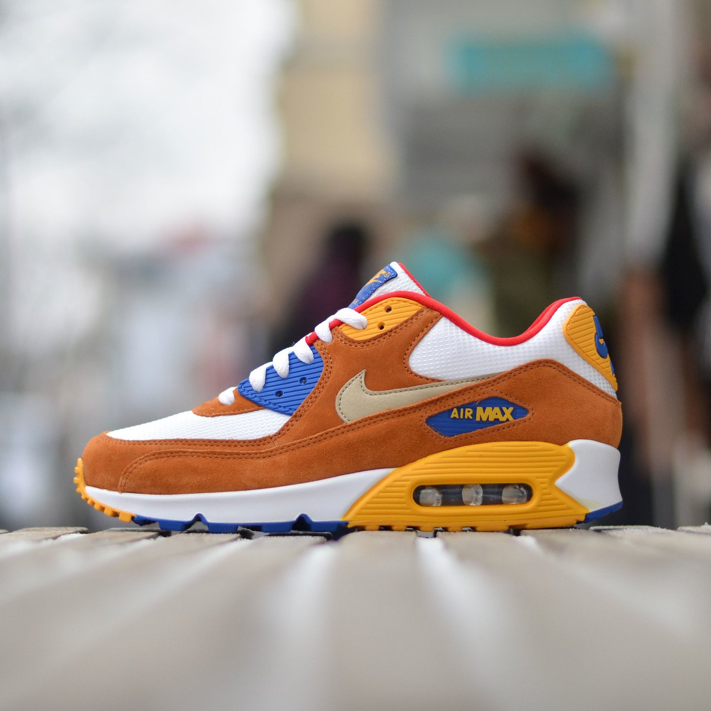 Nike Air Max 90 Premium White / Brown / Yellow / Gold 700155-107-42