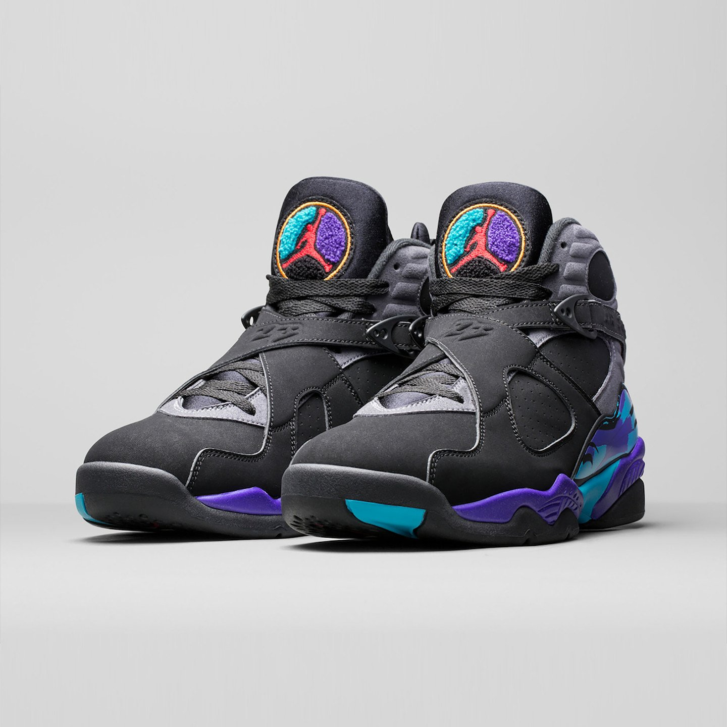 Jordan Air Jordan Retro 8 'Aqua' Black/True Red-Flint Grey-Bright Concord 305381-025-45