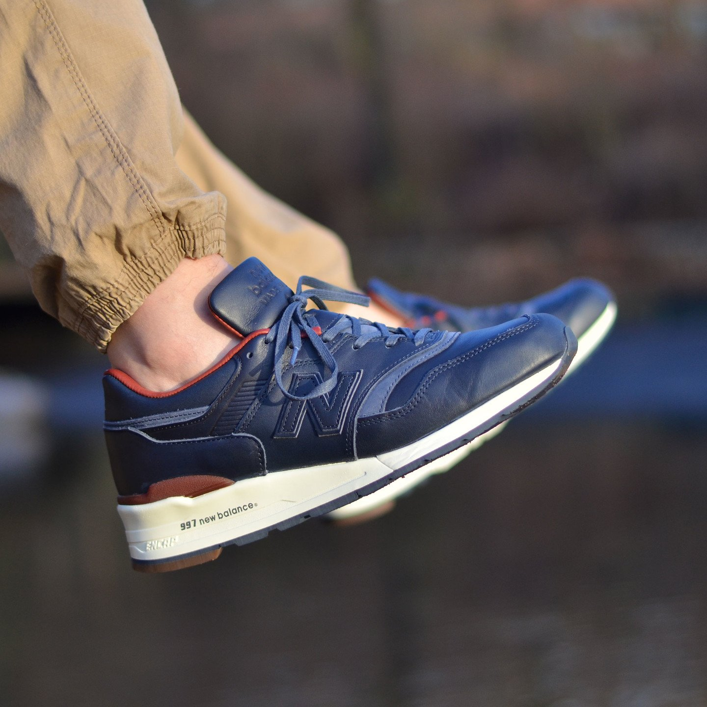 New Balance M997 Made in USA - Horween Leather Dark Blue / Burgundy M997BEXP-45.5