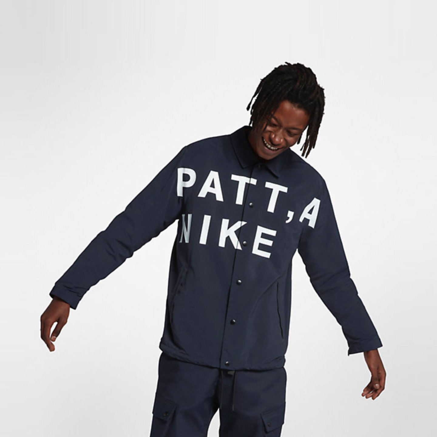Nike Coach Jacket x Patta Dark Obsidian / White / Mars Stone / Black AH6488-476