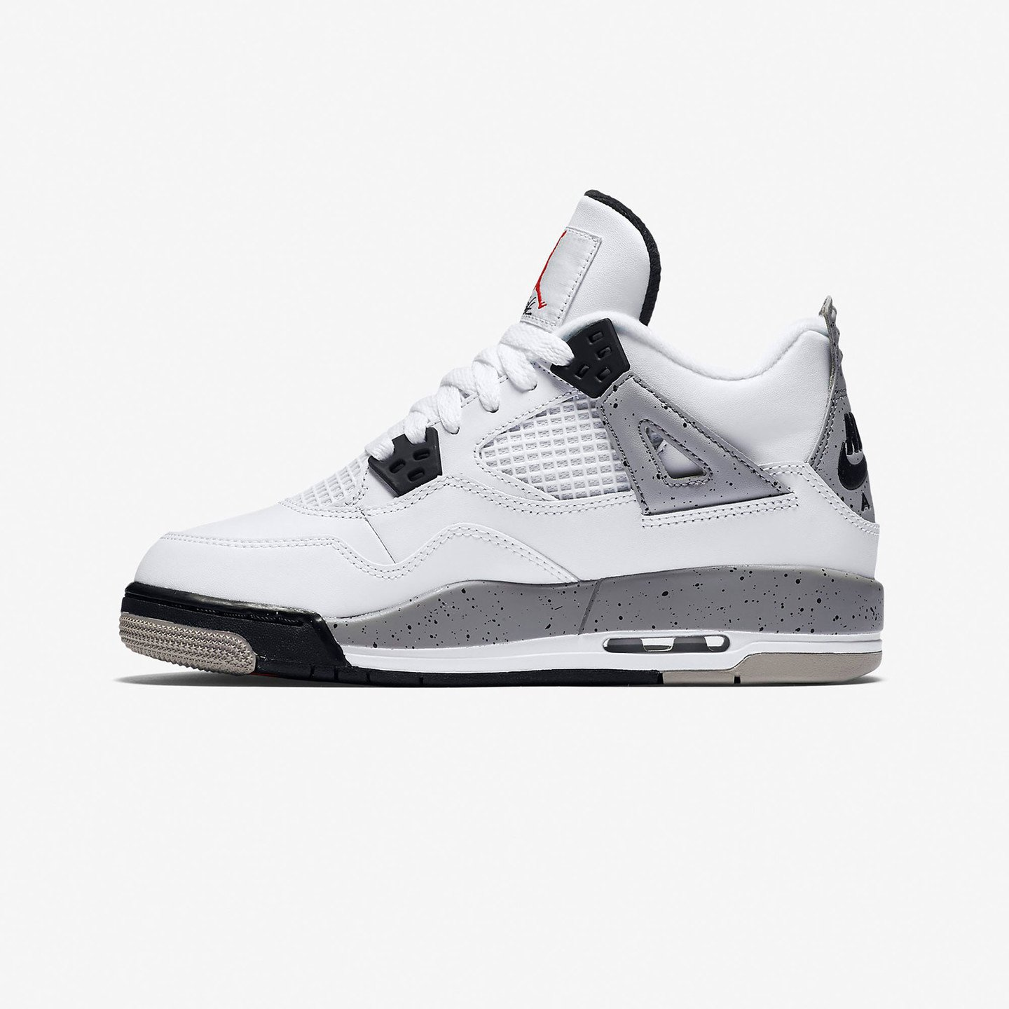 Nike Air Jordan 4 Retro GS Cement White / Fire Red / Tech Grey / Black 836016-192-40
