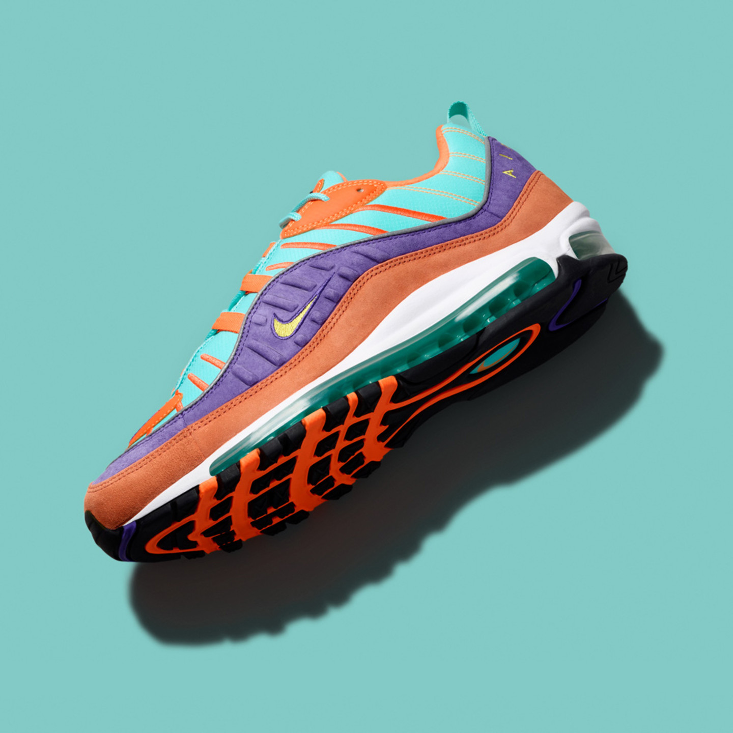 Nike Air Max 98 QS 'Hyper Flash' Cone / Tour Yellow / Hyper Grape 924462-800