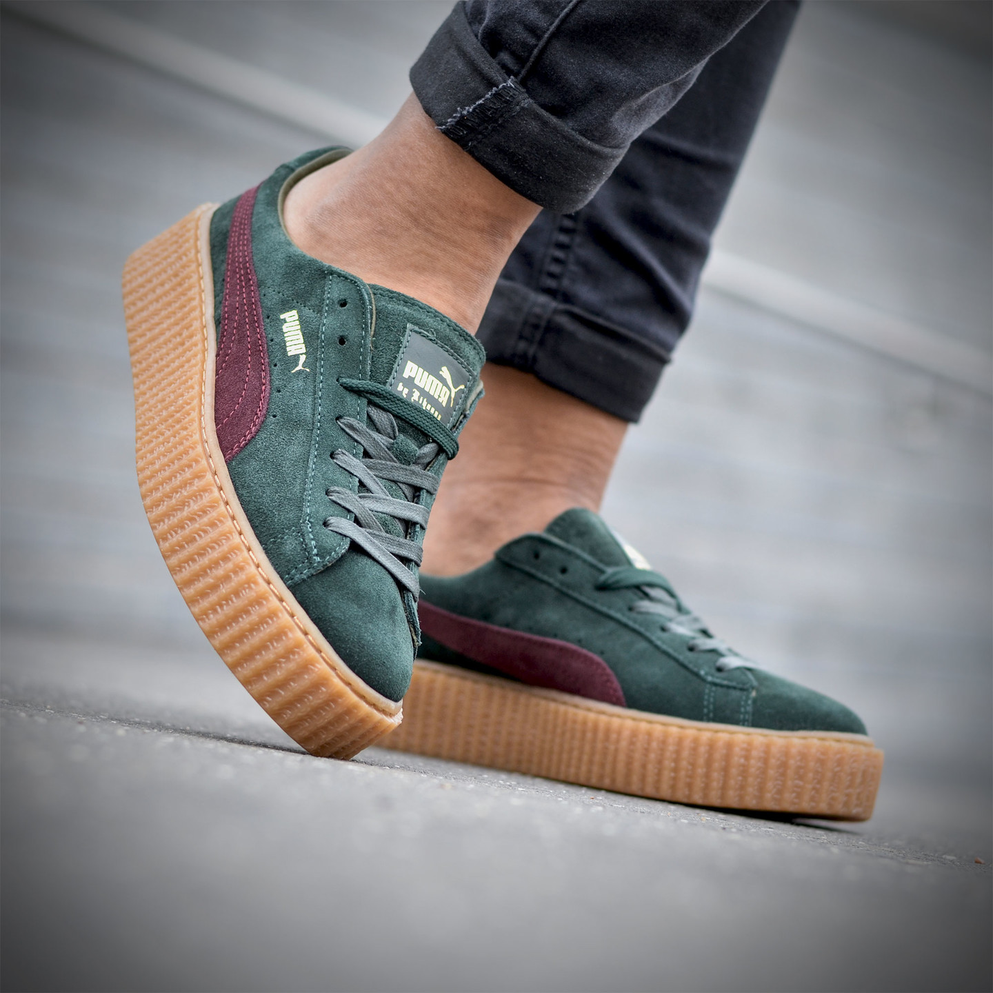 Puma Rihanna Suede Creepers Olive Green / Bordeaux 361005-07-37