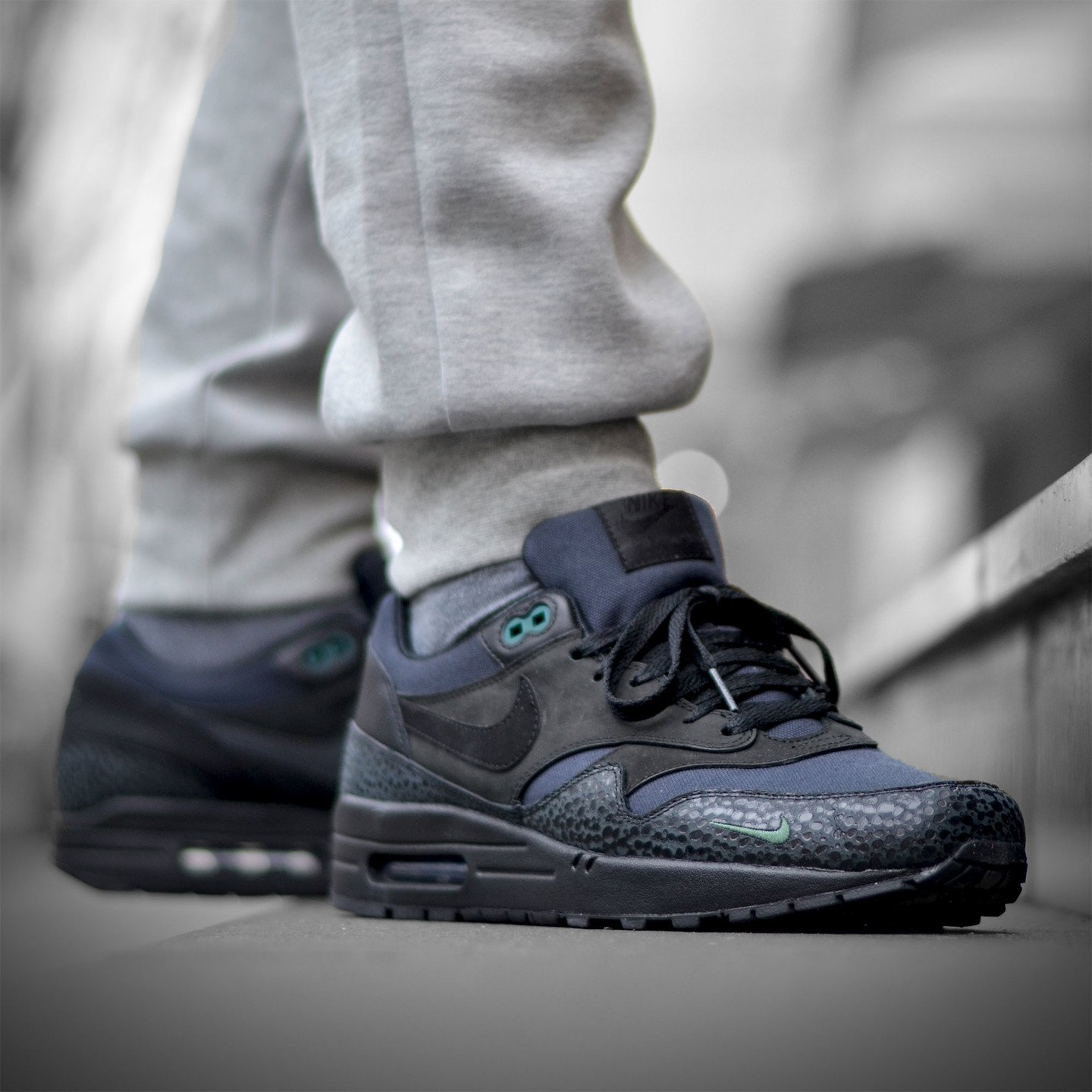 Nike Air Max 1 Premium 'Bonsai Safari' Black / Black / Bonsai 512033-030-46