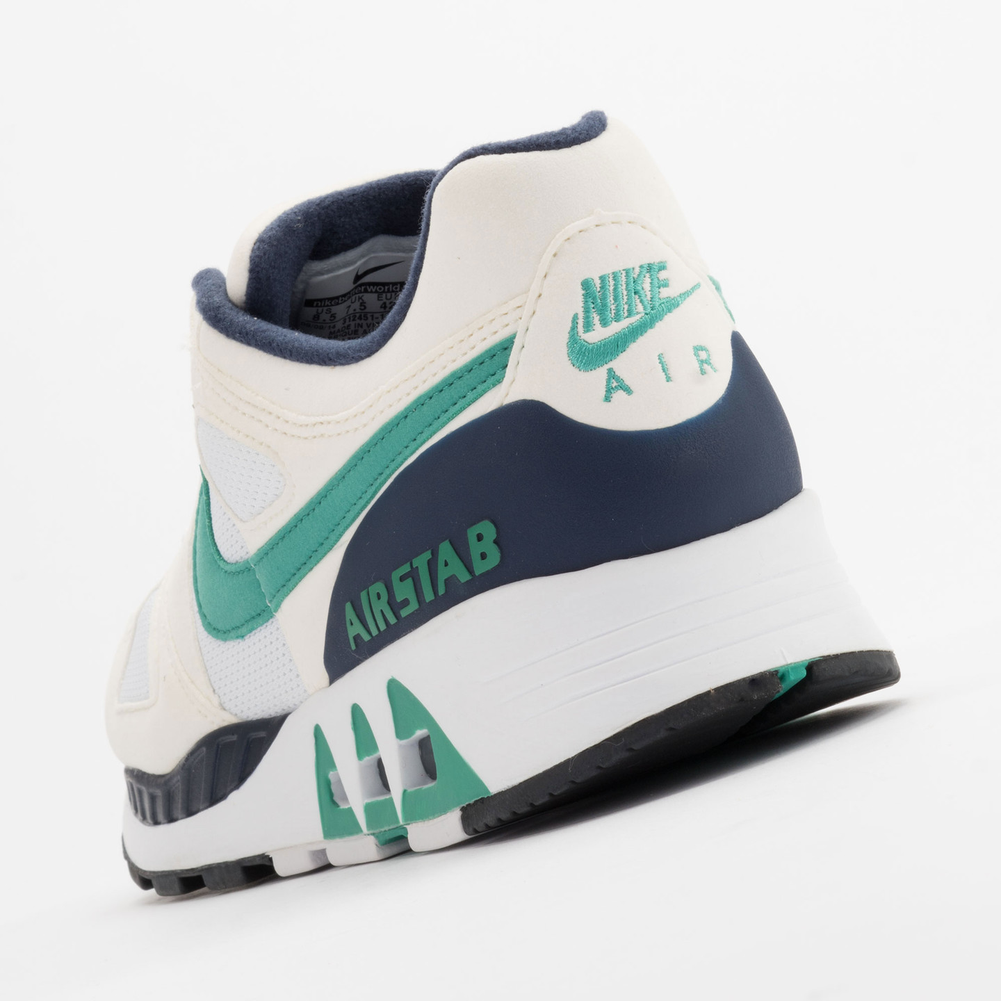 Nike Air Stab White/Emerald Green-Sl-Mid Nvy 312451-100-38.5