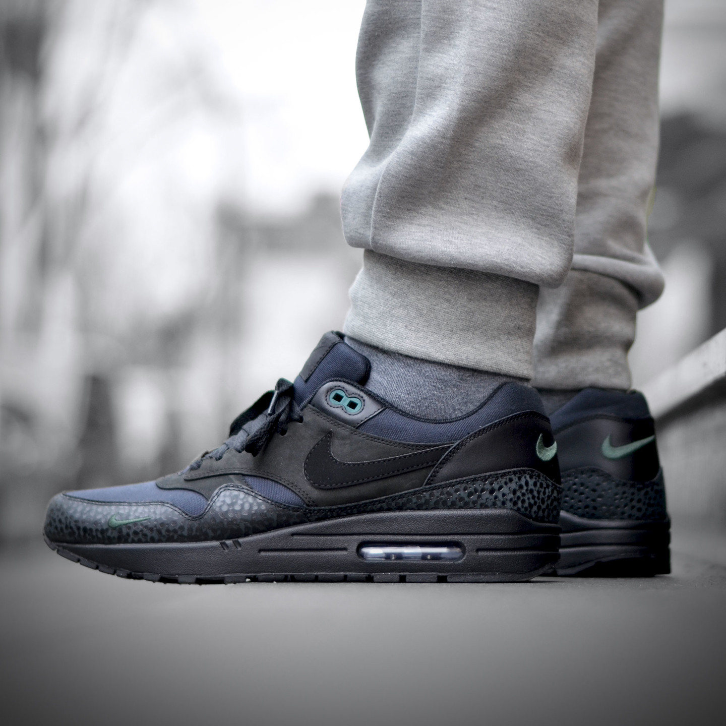 Nike Air Max 1 Premium 'Bonsai Safari' Black / Black / Bonsai 512033-030-44