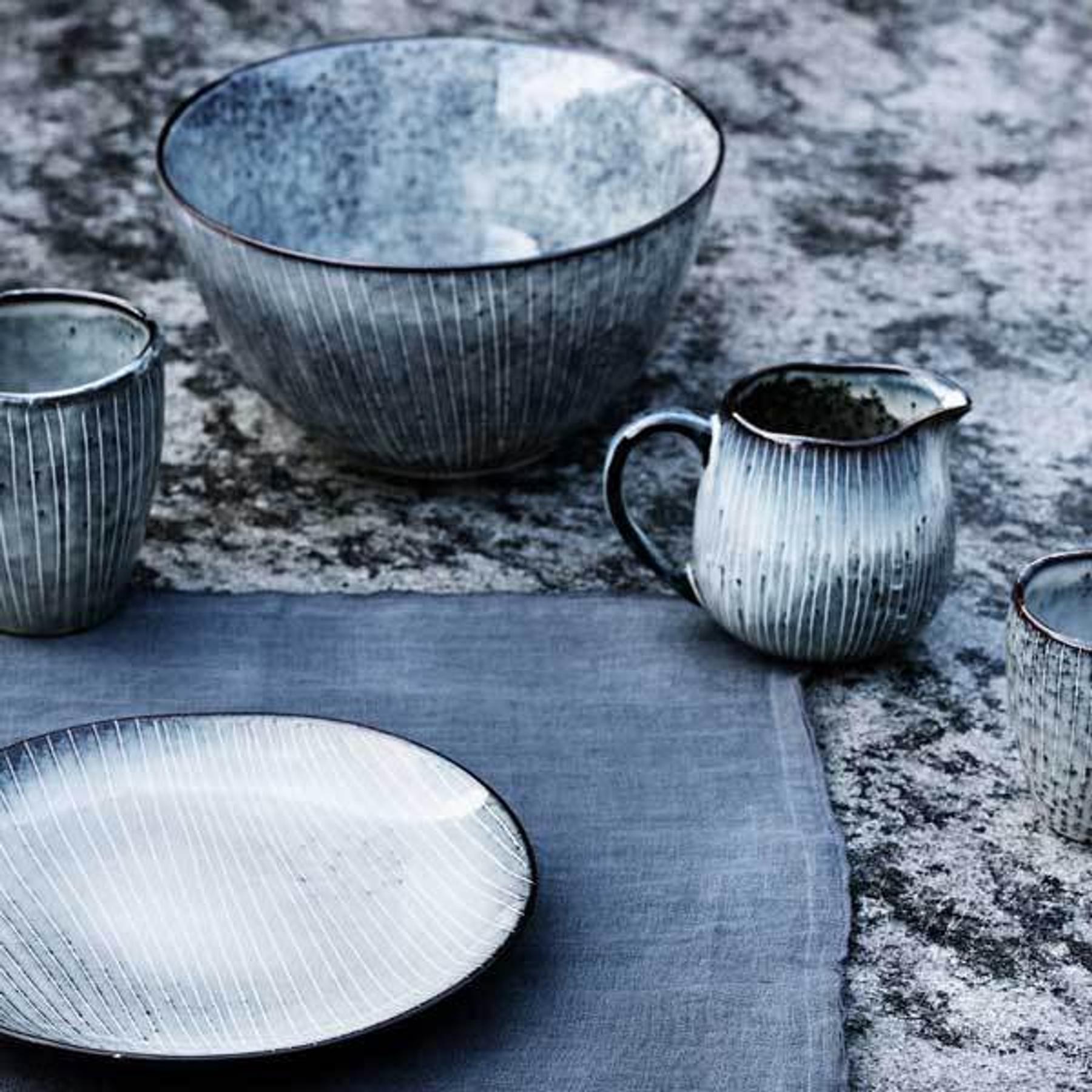 Broste Müslischale Nordic - Schale aus Steingut in blau-grau Tönen ...