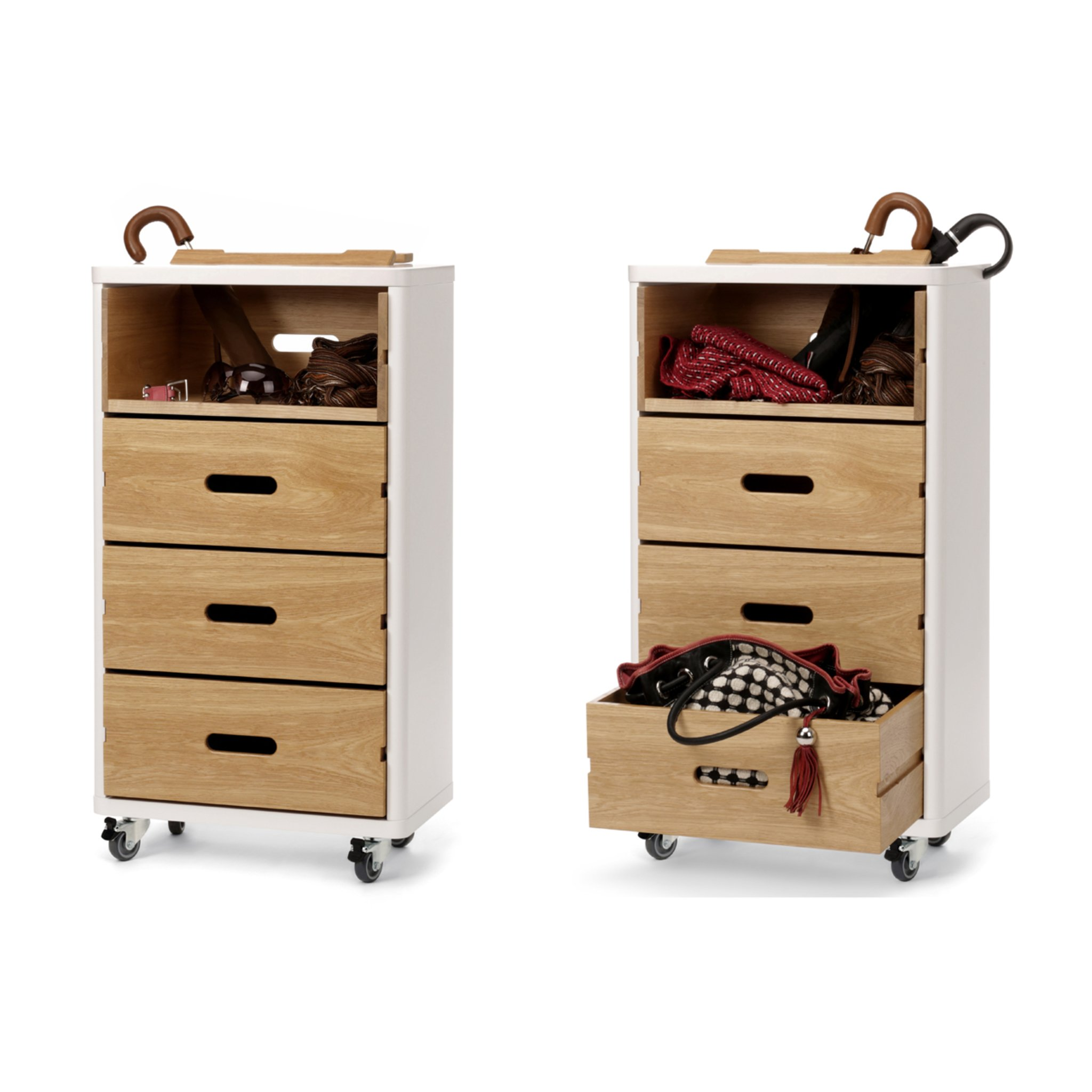 schrank auf rollen in wei und holz cow. Black Bedroom Furniture Sets. Home Design Ideas