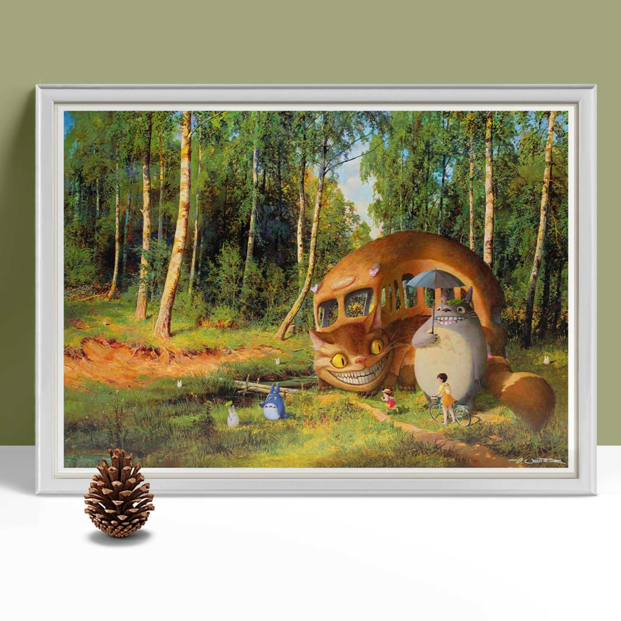 Totoro at the forest framed 2