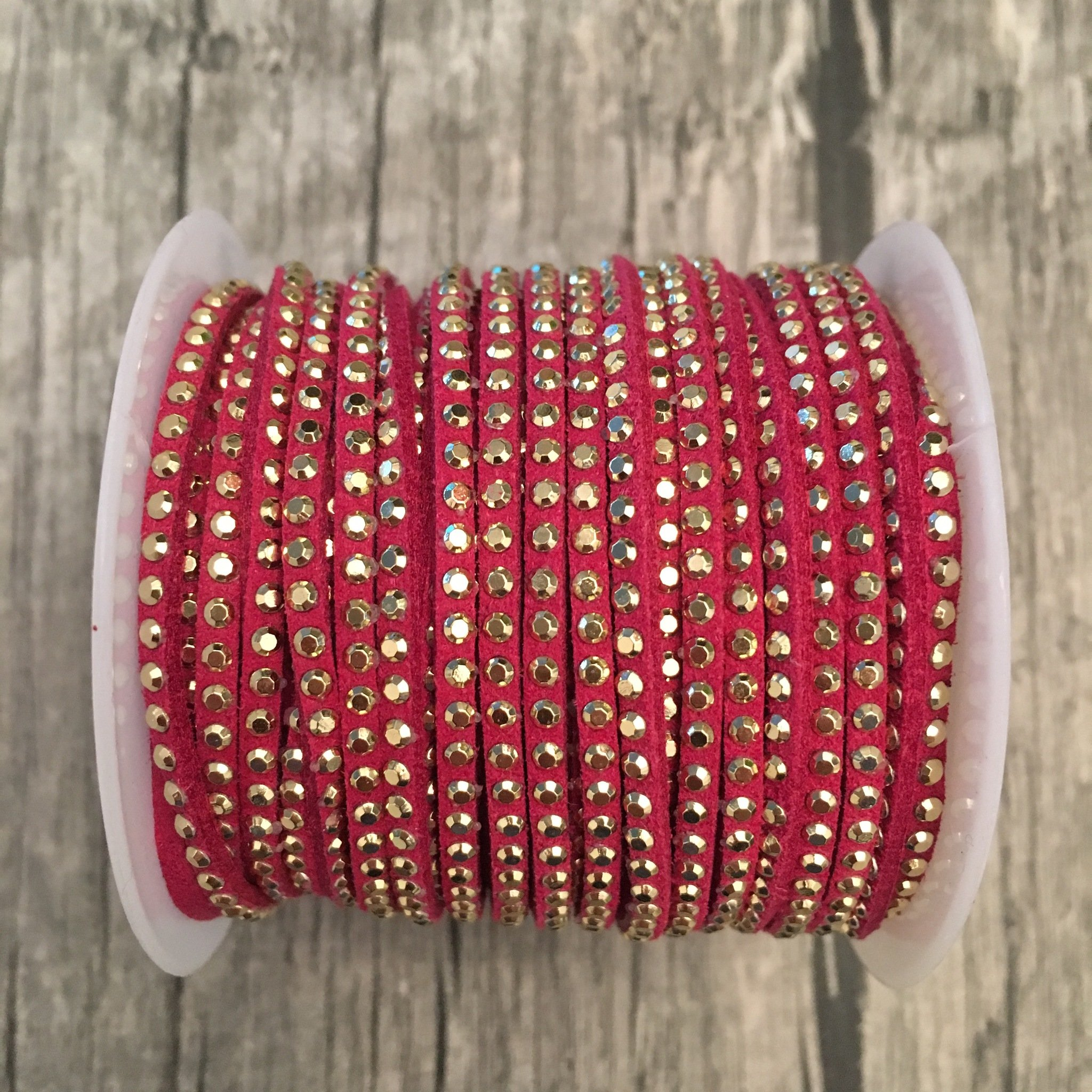 Band // Wildleder Imitat // 3mm // Fuchsia-Gold
