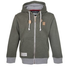 Olive Slub Zip Hooded Sweat