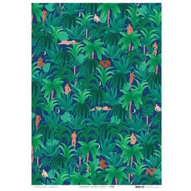 Nachtdschungel Geschenkpapier / Night Jungle Wrapping Paper | Buntpapier 49 x 70 cm / Patterned Paper 49 x 70 cm | Artikelnummer: wrap_papier_nightjungle