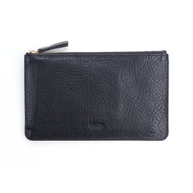 Portemonnaie / Zipper Wallet JUNE by USUS | Schwarzes Leder / Black leather | Artikelnummer: JUNE_schwarz_genarbt