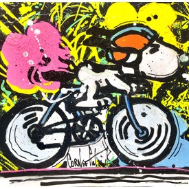Snoopy on a bike | 13 x 13 cm | Artikelnummer: COPAA1