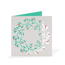 Beerenkranz Weihnachtskarte / Wreath Christmas Card  | Cut Out Card | Artikelnummer: cm_kranz