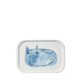 Blue Cat Mini Tray | Kleines Tablett ca. 27x18cm | Artikelnummer: DW-traycat
