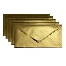 5 x Metallic Kuvert DL / 5 x metallic envelope DL | Gold  | Artikelnummer: envelopes_dl_gold