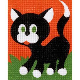 Cat - halve kruissteekpakket Vervaco | Handwerkpakket voor kinderen, te borduren op geschilderd stramien, in halve kruissteek | Artikelnummer: vvc-9563