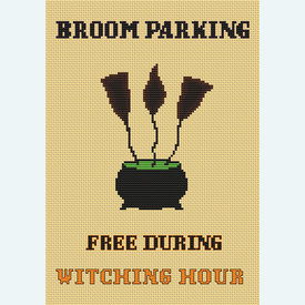 Broom Parking Sign - Borduurpakket met telpatroon Orcraphics |  | Artikelnummer: orc-2019-06-43