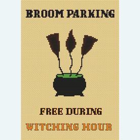 Broom Parking Sign - Borduurpakket met telpatroon Orcraphics      Artikelnummer: orc-2019-06-43