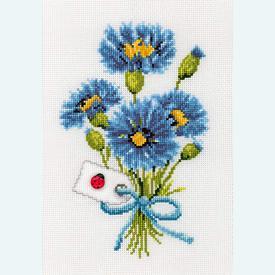 Cornflowers - Kruissteekpakket met telpatroon Vervaco      Artikelnummer: vvc-70067