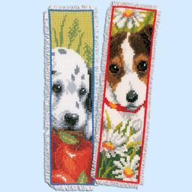 Set van 2 bladwijzers - Puppies - Handwerkpakketten met telpatroon Vervaco |  | Artikelnummer: vvc-147092
