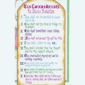 10 Commandments for Stress Reduction - borduurpakket met telpatroon Janlynn |  | Artikelnummer: jl-023.0506