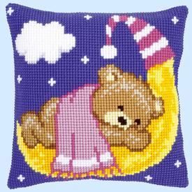 Pink Teddy on the Moon - Vervaco Kruissteekkussen      Artikelnummer: vvc-148195