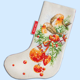 Birds Christmas Stocking - borduurpakket met telpatroon Luca-S |  | Artikelnummer: luca-PM1229