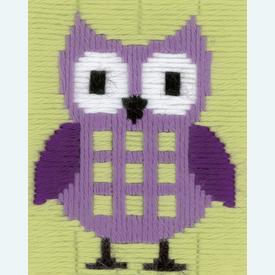 Purple Owl - Vervaco borduurpakket in platsteek, voor kinderen |  | Artikelnummer: vvc-147442